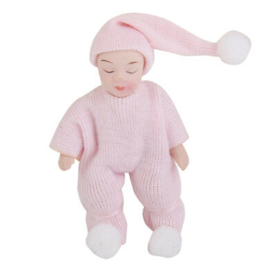 Miniature Porcelain Dolls Sleeping Baby in Pink Sweater for 12th Doll House