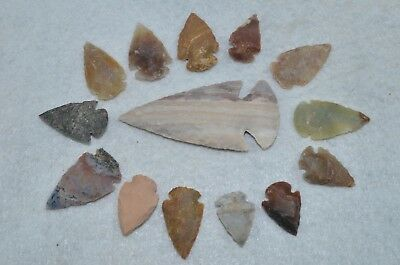 """14 Flint Arrowheads Ohio Collection 1"""" Points Spear Bow Knife Blade Dovetail"""