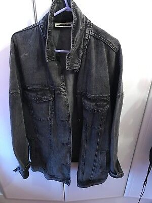 Womens Noisy May Oversized Black Denim Jacket With Sequin Back Detail Size M/L