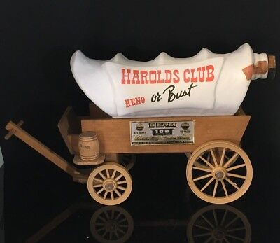 Covered Wagon Whiskey Decanter Jim Beam KY Straight Harolds Club Reno or Bust