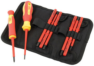 Draper 10 Piece VDE Insulated Interchangeable Blade Screwdriver Set in Tool Roll