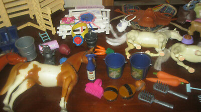 Horses Mixed Lot Saddles Blankets Buckets Brushes Ribbons Carrots Apple Trophy