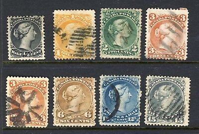 8x Canada Used Large Queens fine No. 21,23,24,25i,25,27,28,29 CV= $200.00
