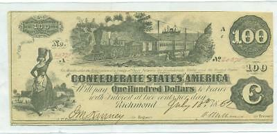 Authentic 1862 $100 Confederate Note Csa Civil War