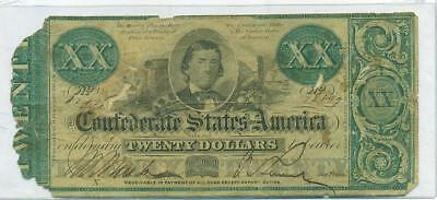 Authentic 1861 $20 Confederate Note Csa Civil War