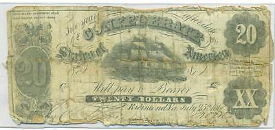 Authentic 1861 $20 Confederate Note Csa Civil War With Backing