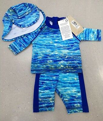 Baby Boys M&S UPF 40+ 3 Piece swimming top, shorts and hat set 3-6 months BNWT