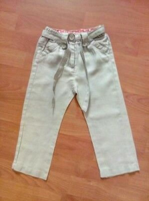 Girls la Redoute Light Grey Linen Trousers Age 2 Years H34cm
