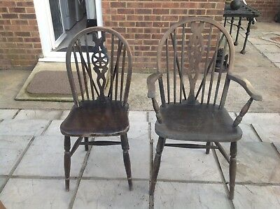 2  Antique  wheel back Windsor  chairs - Carver & Dining