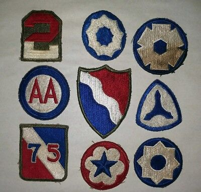 Vintage WWII US Military Patches, lot of 9, Anti Aircraft+Southern Defense+more