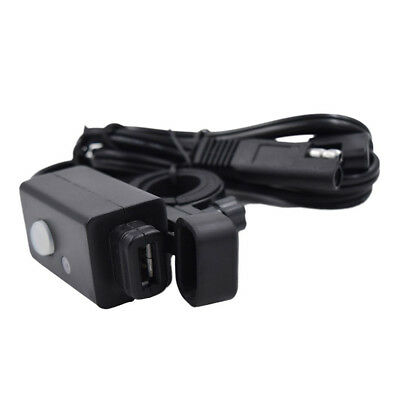 Motorcycle SAE USB Phone GPS Charger with Switch LED Indicator Light