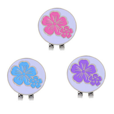 3Pcs Magnetic Golf Ball Marker with Hat Clip Golf Accessory Flower Gift