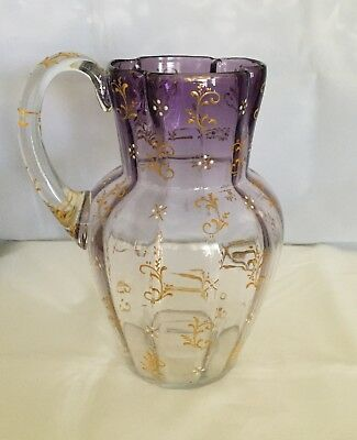 """Enchanting Victorian Purple to Clear Glass Rib Optic Enameled Pitcher ~ 8 3/4"""""""