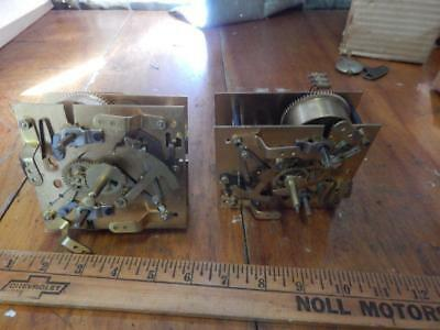 2 Mantel Clock Movements, Unmarked, For Parts or Restoration!