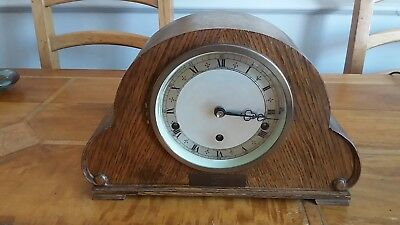 Vintage Oak Cased Elliott Of London Westminster Chime Mantle Clock Working