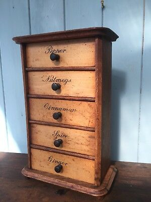 Antique Wooden Spice Cabinet Drawers Rack Rustic Storage Apothecary Kitchen