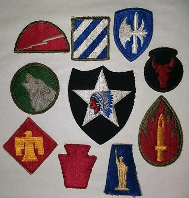 Vintage WWII US Military Patches lot of 10 Infantry Patches
