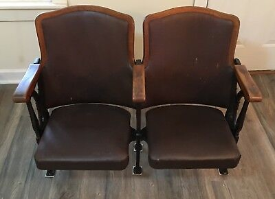Vintage Cast Iron And Wooden Theater Seats Chairs PICKUP ONLY Near Owensboro KY