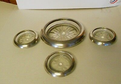 Frank M. Whiting & Co Sterling Silver Coasters One Large And 3 Small Glass Look
