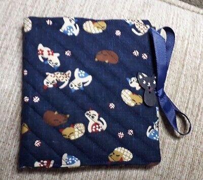 Quilted Handmade Needle Book Cats Japanese Navy Blue Fabric Wooden cat button