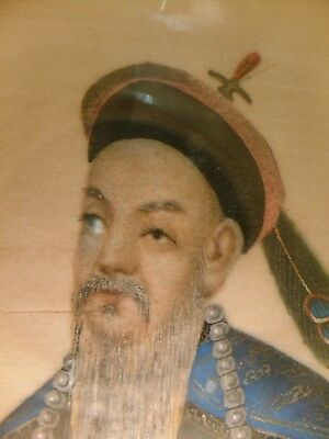Antique Chinese Qing Dynasty Emperor ? Rice Paper Painting Gouache Oil Painting