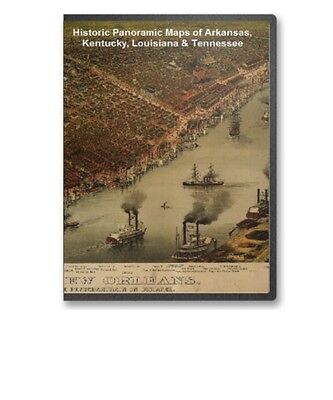 AR KY LA TN - 28 Vintage Panoramic City Maps on CD - B139