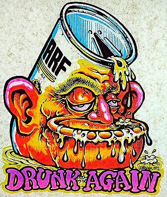 """Vintage 1973 Original RoAcH Psychedelic """"Drunk Again"""" Iron On DAY-GLO Beer RARE!"""