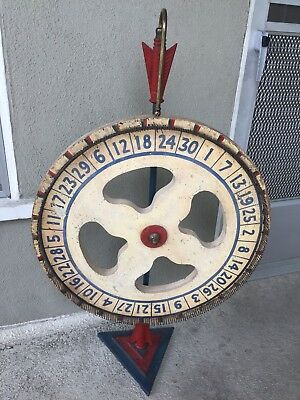 Antique Wood, Cast Iron, Brass Hand Painted Table Top Carnival Game Wheel  1920s