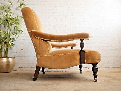 Antique Edwardian Howard & Sons Style Library Lounge Reading Chair Armchair