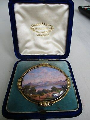 large antique bespoke 18ct gold hand painted brooch c1800's 15.0 grams.