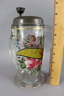 Large 19thC Antique 1847 Hand Blown & Painted Roses Glass Beer Stein, NR