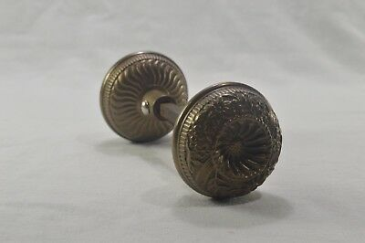 Antique Aesthetic Movement Brass Doorknob Set