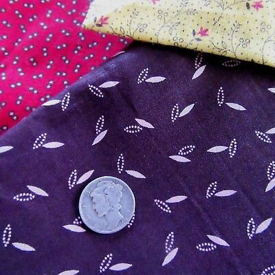 19thC Antique Brown Salmon Calico Fabric Glazed Cotton Quilt Dolls dress OLD