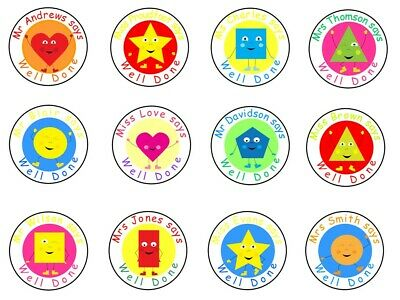 Five Star Party Supplies Personalised Teacher Reward Well Done Stickers Unicorn Mix GLOSS Finish 48 Stickers 30mm diameter