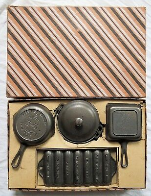 Griswold Cast Iron Mother & Daughter Toy Cookware Set w/Original Box Old Vtg