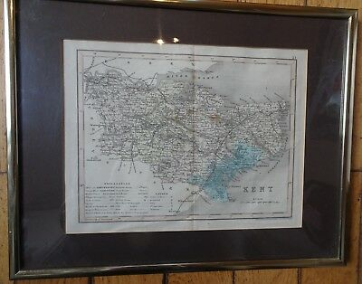 c1840 J.Archer engraved map of Kent. Frame 14 by 12 inch glazed first railroads