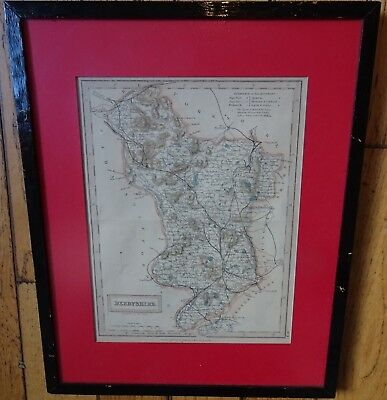 Map of Derbyshire 1830 Chapman and Hall framed glazed 12 by 14 inch frame
