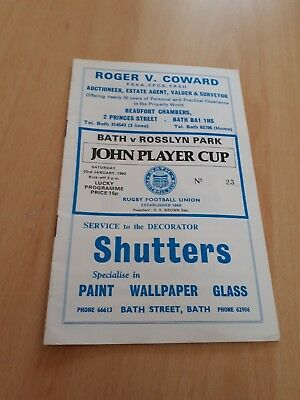 1982 Bath V Rosslyn Park  John Player Cup Rugby Union Programme