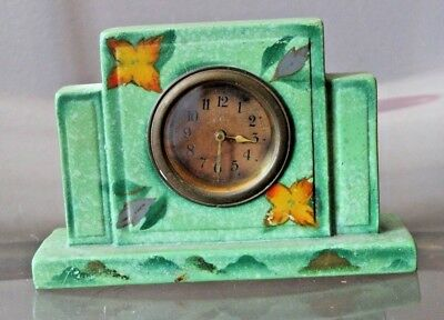 Vintage Green Sml Deco Mantel Winder Clock England 448 Hand Painted