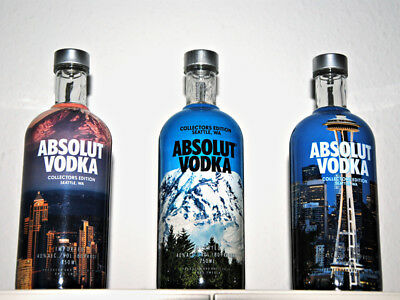 3x ABSOLUT VODKA SEATTLE BOTTLE 1 L EMPTY NO GRAFFITI GLOW CUT ZENG TACK CNC