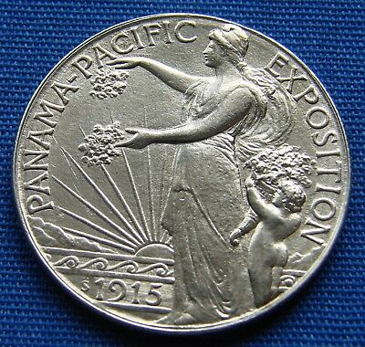 "*beautiful Looking 1915-S Panama - Pacific Half Dollar ""cleaned"" - Estate Fresh*"