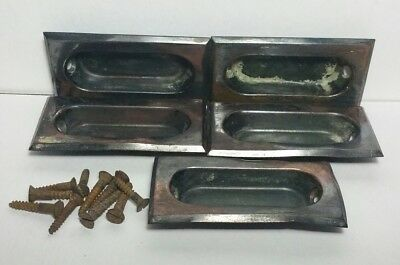Lot Of 5 Antique Window Sash Recessed Handle Lifts With Screws