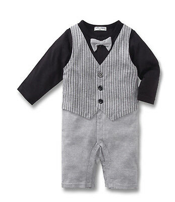Baby Boy Formal*Wedding*Tuxedo Waistcoat 1pc Pinstripe Outfit Suit Free P+P