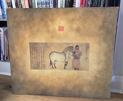 Chinese Painting on Canvas, Scene: Messenger and Horse From Tang Dynasty Period.