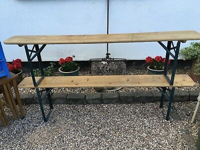 Pair of Vintage Industrial Wooden Folding Benches 2.2M Long