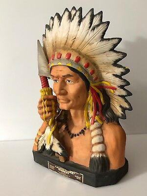 Rare Vintage LIONSTONE INDIAN CHIEF WHISKEY DECANTER, BOURBON ~ Empty