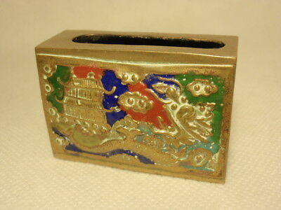 Cloisonne Brass Chinese Matchbox Holder Box Safe: Pagoda & Dragon Scene *As-Is*
