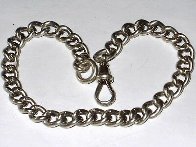 Antique Solid Sterling Silver Chunky Curb Bracelet With Dog Clip