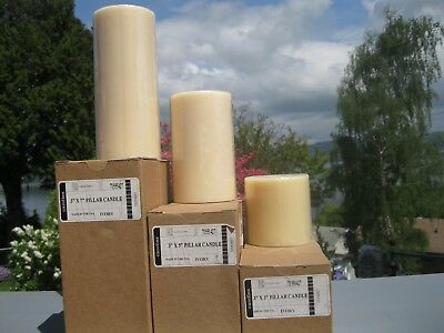 Six Unscented Ivory Pillar Candles-by Longaberger