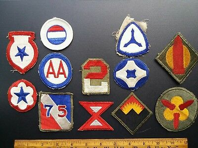 Vintage WWII US Patches lot of 12 North African Theater, Coastal Artillery &more